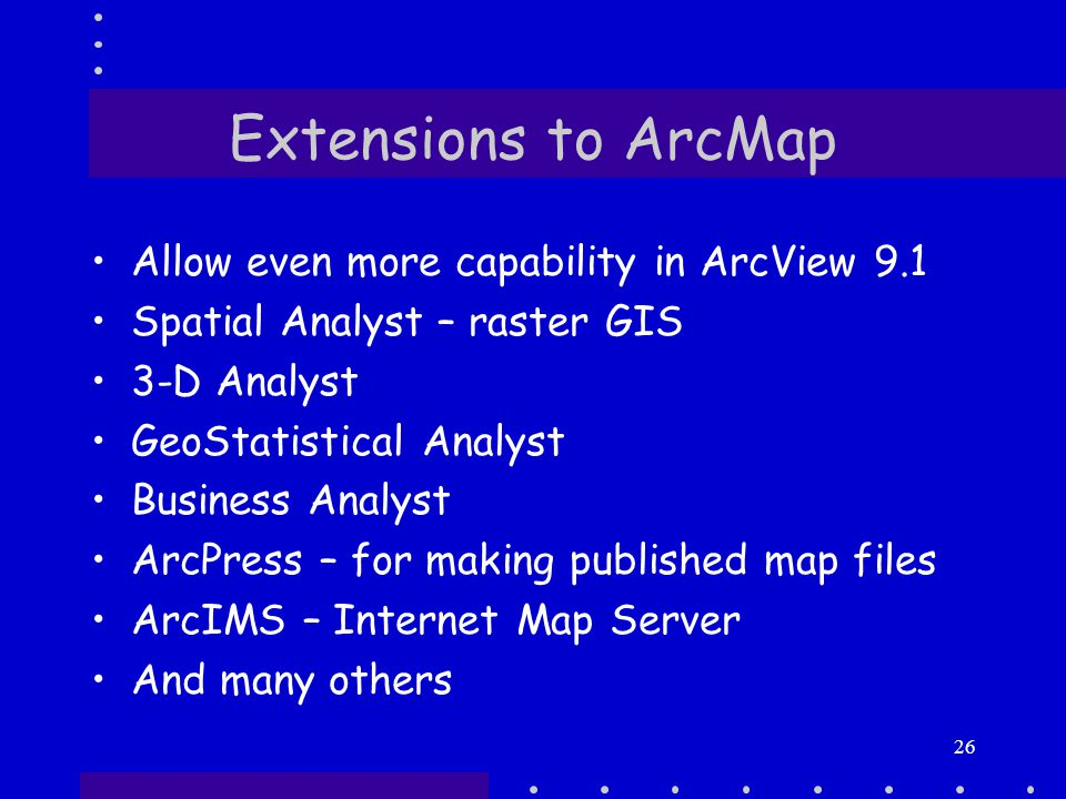 26 Extensions to ArcMap Allow even more capability in ArcView 9.1 Spatial Analyst – raster GIS 3-D Analyst GeoStatistical Analyst Business Analyst ArcPress – for making published map files ArcIMS – Internet Map Server And many others