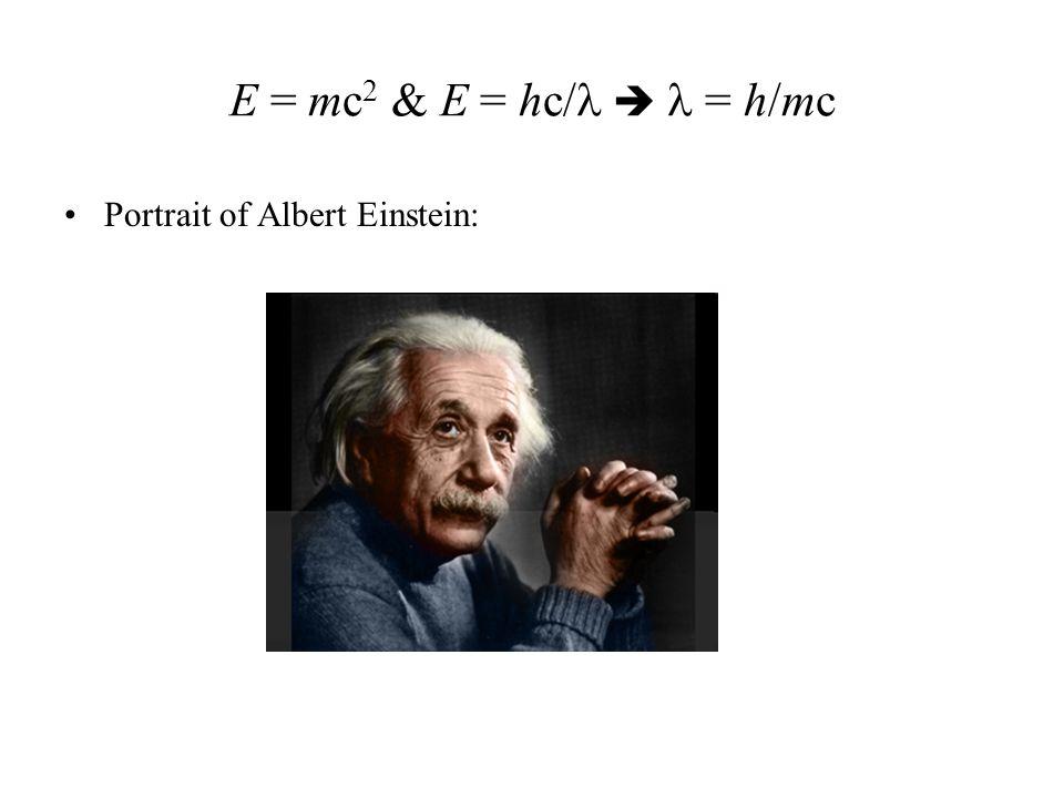 E = mc 2 & E = hc/  = h/mc Portrait of Albert Einstein: