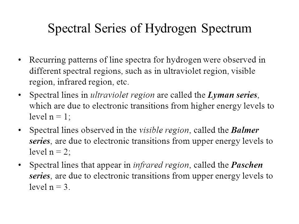 Spectral Series of Hydrogen Spectrum Recurring patterns of line spectra for hydrogen were observed in different spectral regions, such as in ultraviolet region, visible region, infrared region, etc.