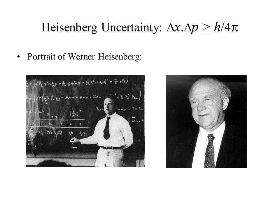 Heisenberg Uncertainty:  x.  p > h/ 4  Portrait of Werner Heisenberg: