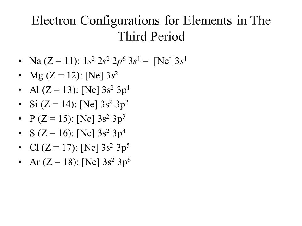 Electron Configurations for Elements in The Third Period Na (Z = 11): 1s 2 2s 2 2p 6 3s 1 = [Ne] 3s 1 Mg (Z = 12): [Ne] 3s 2 Al (Z = 13): [Ne] 3s 2 3p 1 Si (Z = 14): [Ne] 3s 2 3p 2 P (Z = 15): [Ne] 3s 2 3p 3 S (Z = 16): [Ne] 3s 2 3p 4 Cl (Z = 17): [Ne] 3s 2 3p 5 Ar (Z = 18): [Ne] 3s 2 3p 6
