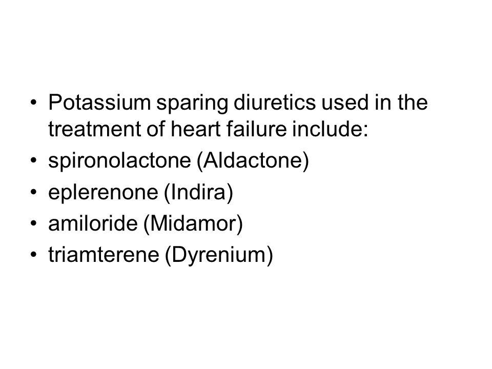 Potassium sparing diuretics used in the treatment of heart failure include: spironolactone (Aldactone) eplerenone (Indira) amiloride (Midamor) triamte