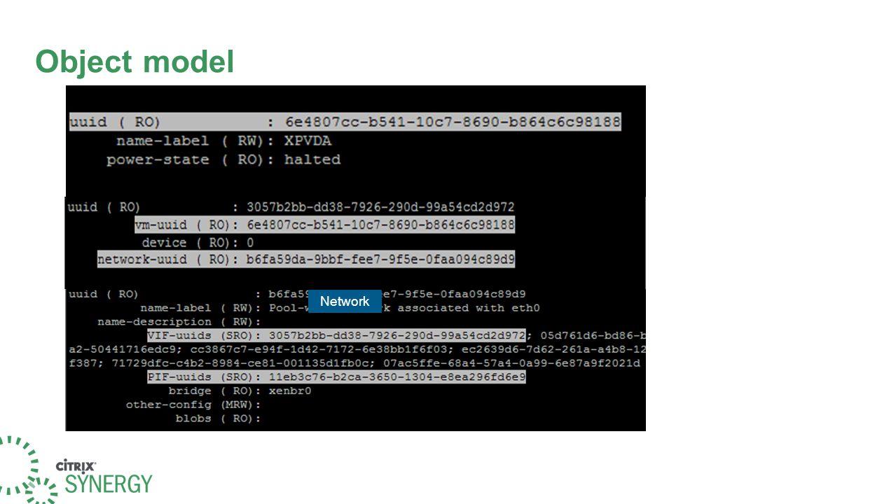 Object model VM VIF Network