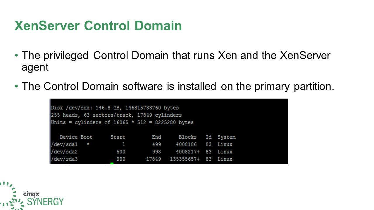 XenServer Control Domain The privileged Control Domain that runs Xen and the XenServer agent The Control Domain software is installed on the primary p