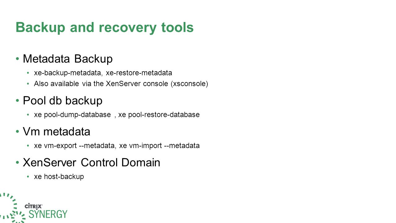 backup-metadata When a metadata backup is first taken, a special backup VDI is created on a SR.