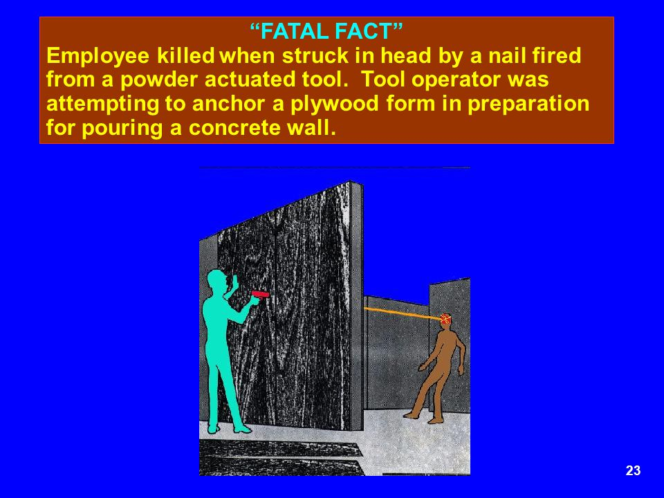 24 FATAL FACT Employees performing remodeling operations building a wall.