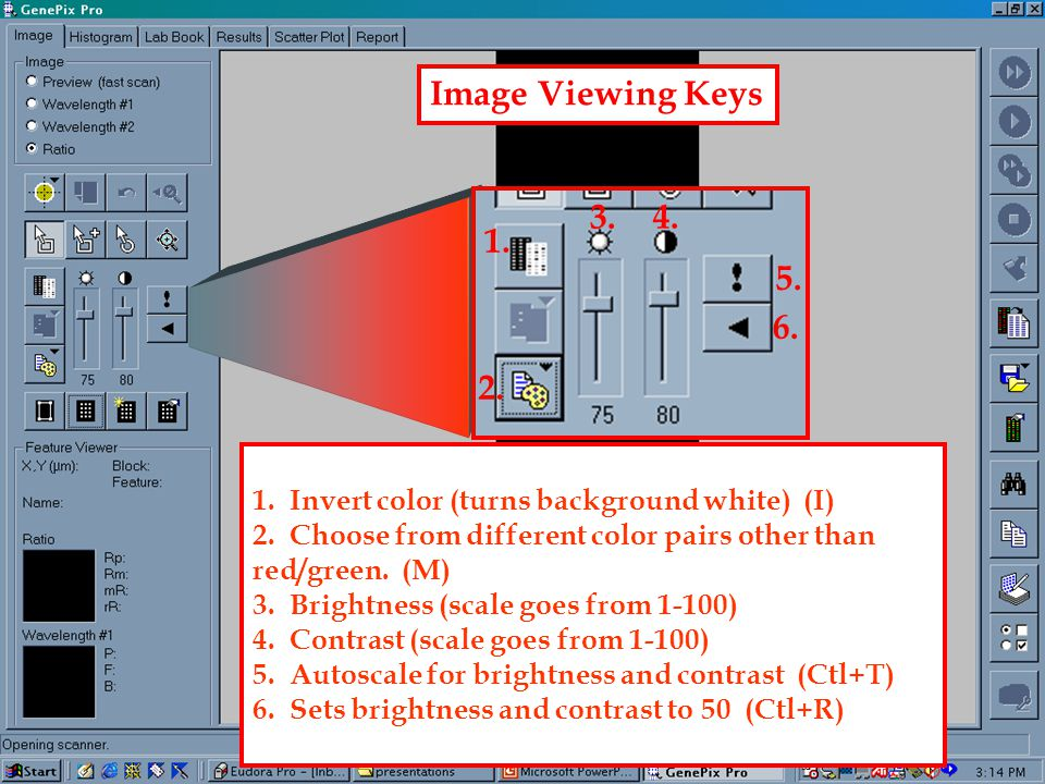 1.Scan Area (allows the user to draw a box around the area of the slide to be scanned) (Ctl+V) 2.
