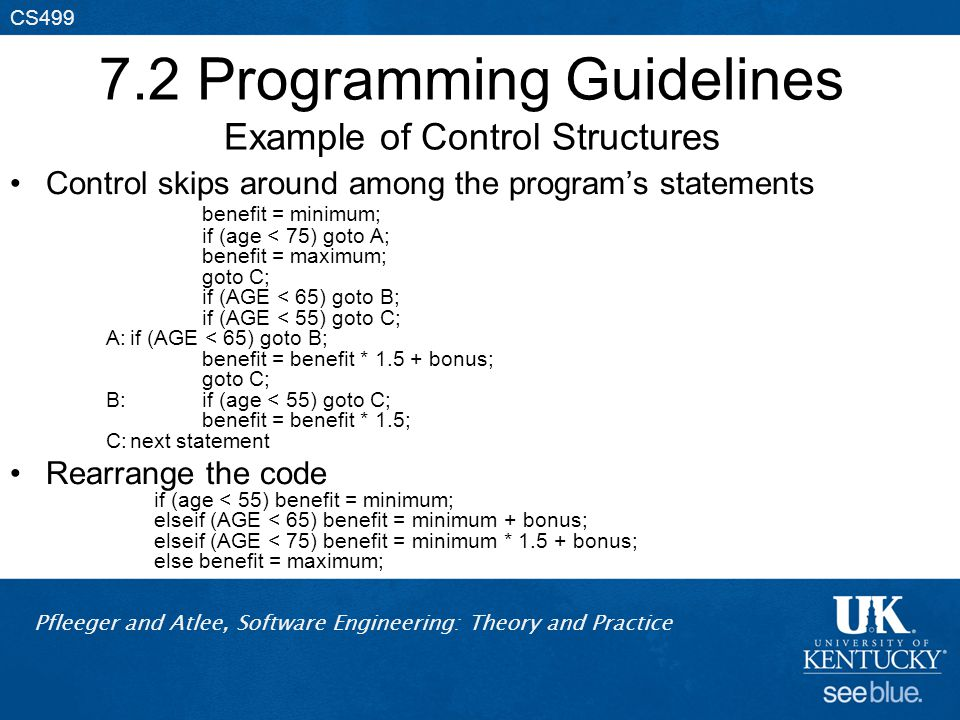 Pfleeger and Atlee, Software Engineering: Theory and Practice CS499 7.2 Programming Guidelines Example of Control Structures Control skips around among the program's statements benefit = minimum; if (age < 75) goto A; benefit = maximum; goto C; if (AGE < 65) goto B; if (AGE < 55) goto C; A:if (AGE < 65) goto B; benefit = benefit * 1.5 + bonus; goto C; B:if (age < 55) goto C; benefit = benefit * 1.5; C:next statement Rearrange the code if (age < 55) benefit = minimum; elseif (AGE < 65) benefit = minimum + bonus; elseif (AGE < 75) benefit = minimum * 1.5 + bonus; else benefit = maximum;