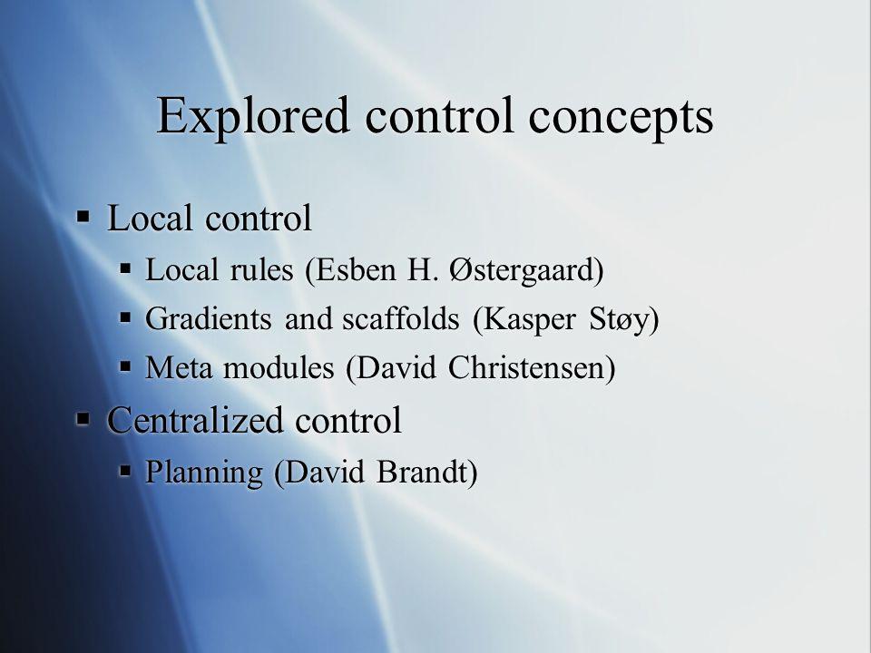 Explored control concepts  Local control  Local rules (Esben H.