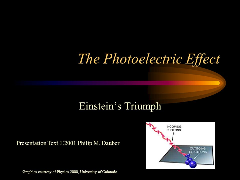 The Photoelectric Effect Einstein's Triumph Graphics courtesy of Physics 2000, University of Colorado Presentation Text ©2001 Philip M. Dauber