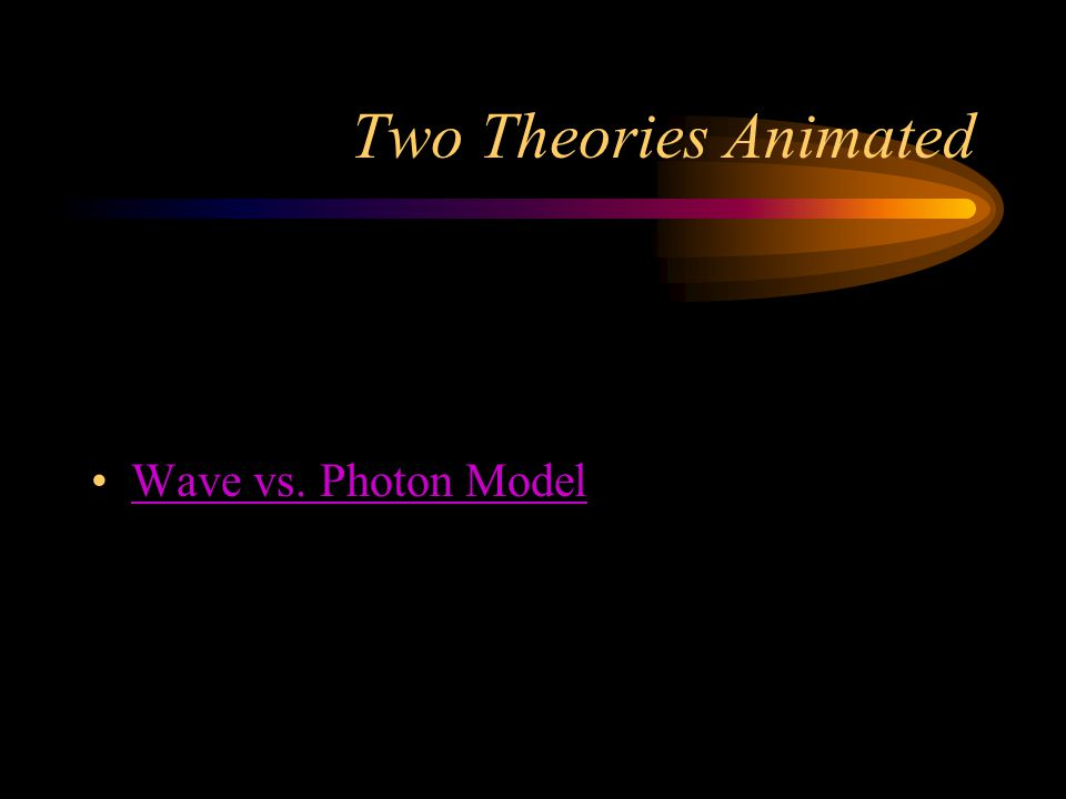 Two Theories Animated Wave vs. Photon Model