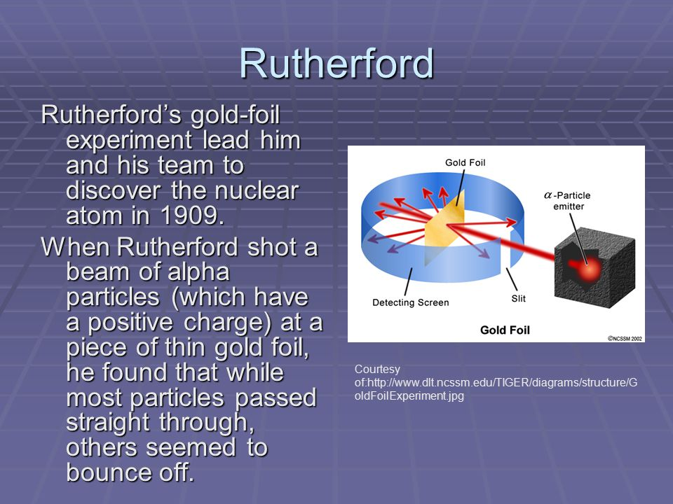 Rutherford Rutherford's gold-foil experiment lead him and his team to discover the nuclear atom in 1909.