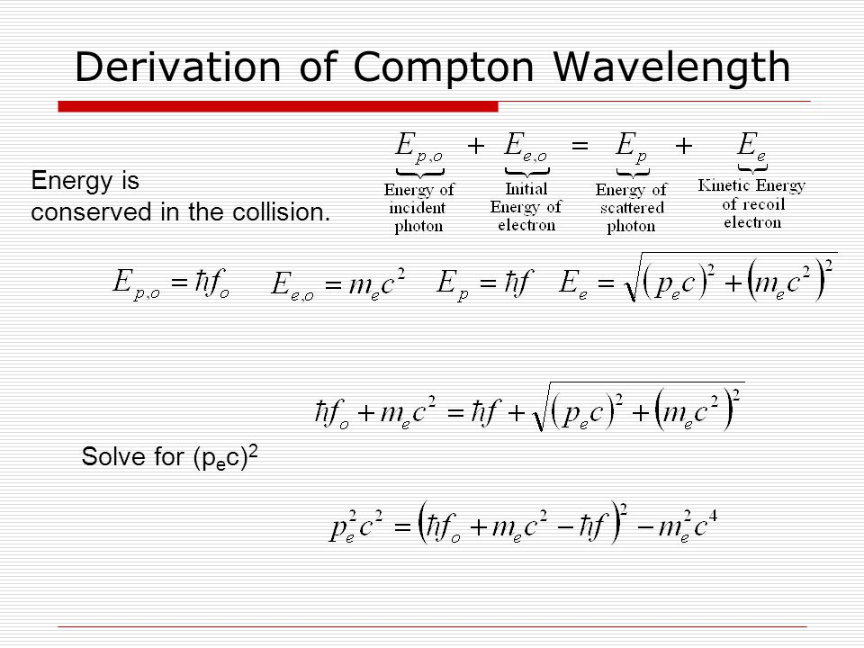 Energy is conserved in the collision. Derivation of Compton Wavelength Solve for (p e c) 2