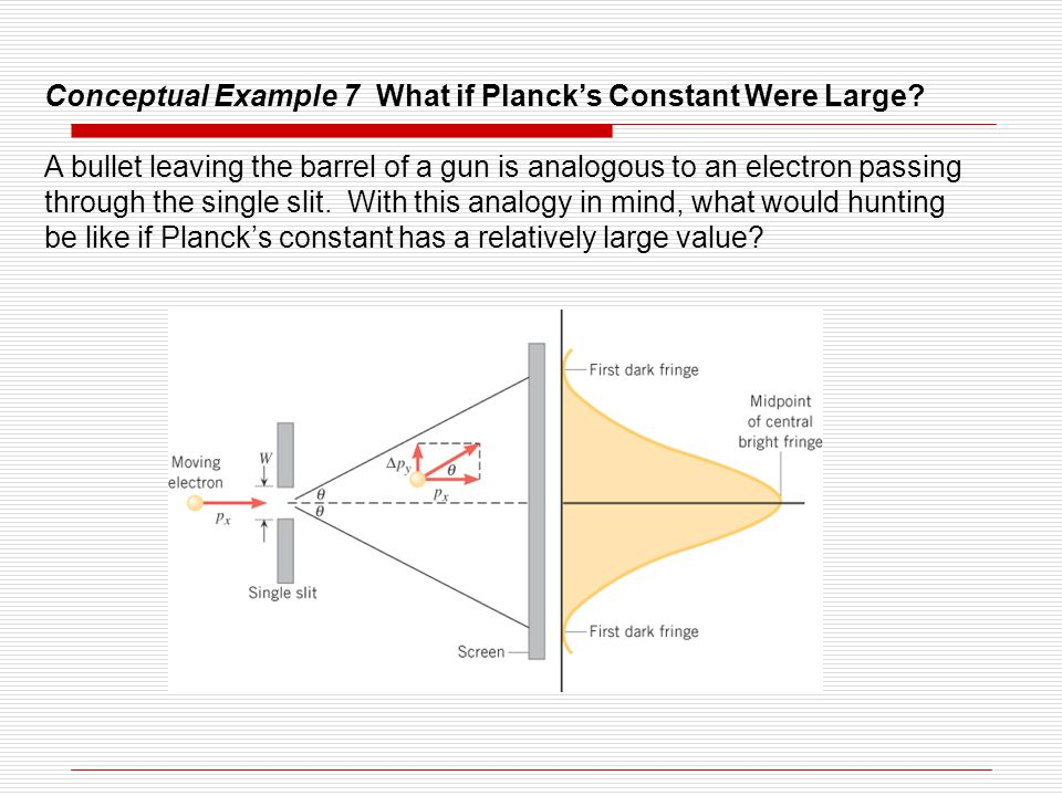 Conceptual Example 7 What if Planck's Constant Were Large? A bullet leaving the barrel of a gun is analogous to an electron passing through the single