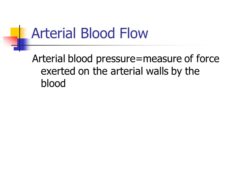 Arterial Blood Flow Arterial blood pressure=measure of force exerted on the arterial walls by the blood