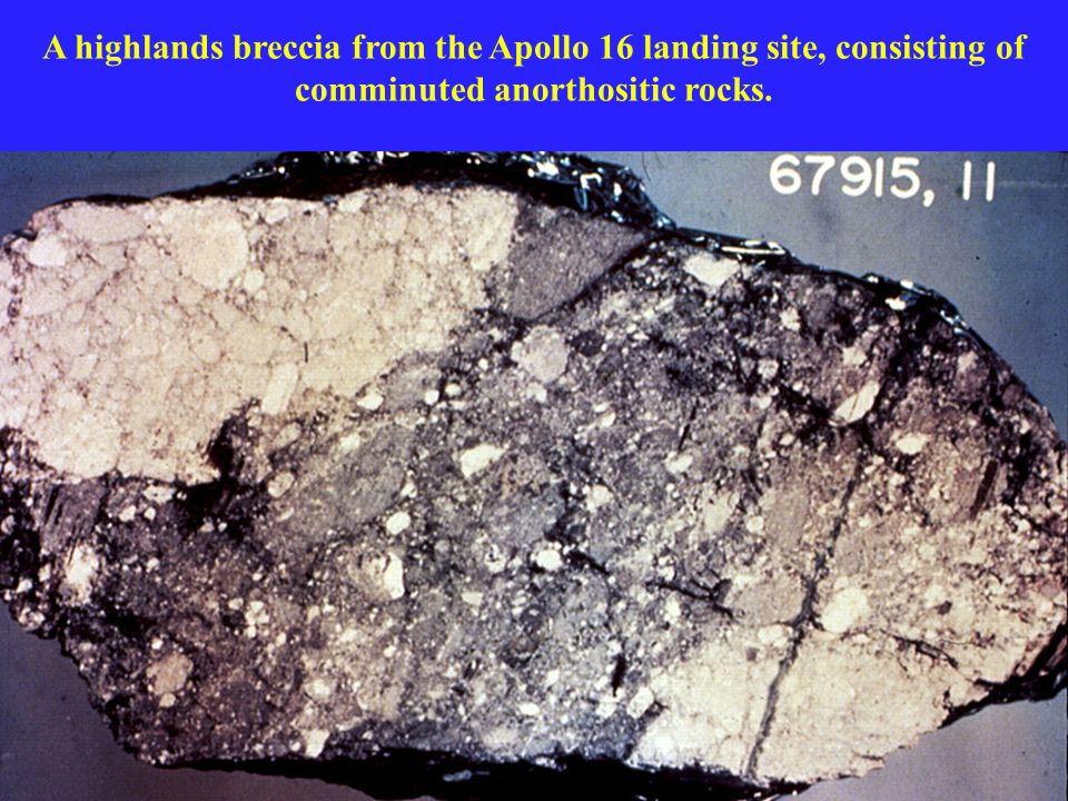 A highlands breccia from the Apollo 16 landing site, consisting of comminuted anorthositic rocks.