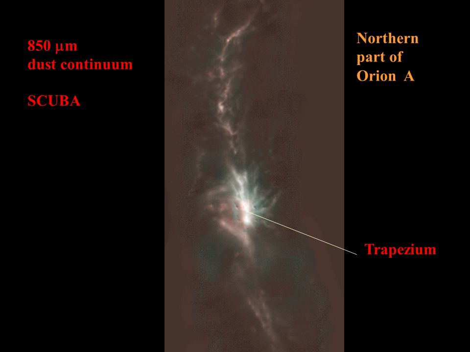 850  m dust continuum Northern part of Orion A SCUBA Trapezium