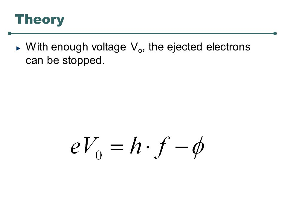 Theory With enough voltage V o, the ejected electrons can be stopped.