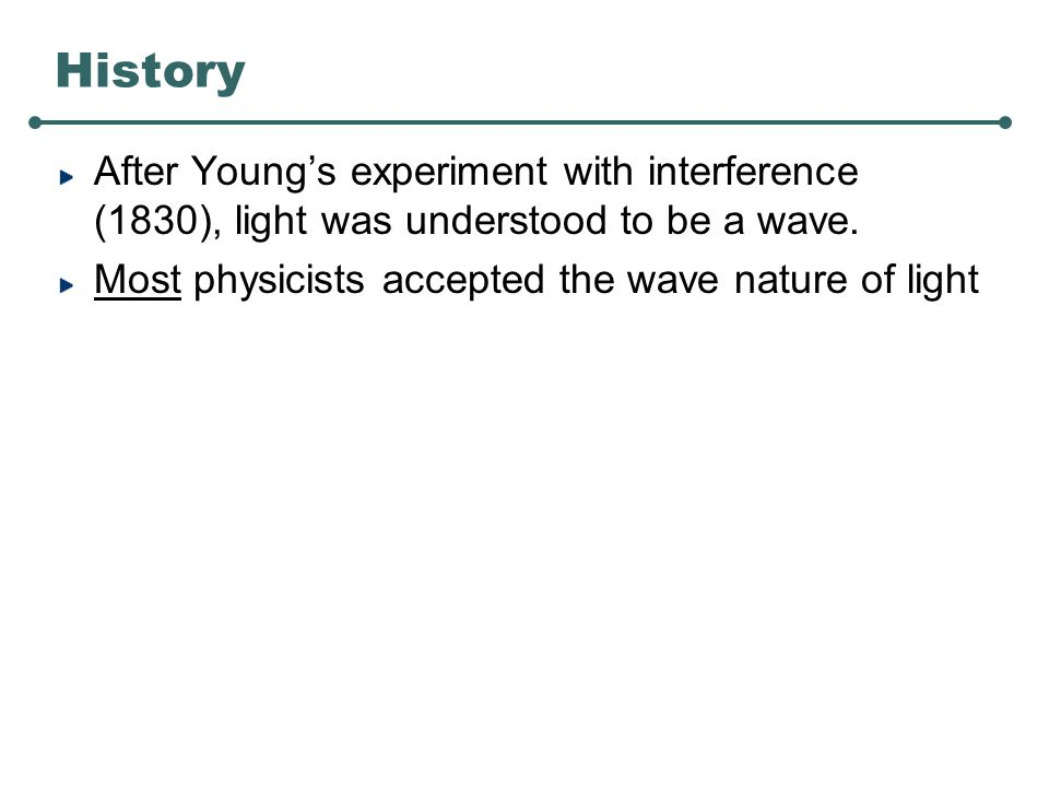 History After Young's experiment with interference (1830), light was understood to be a wave.