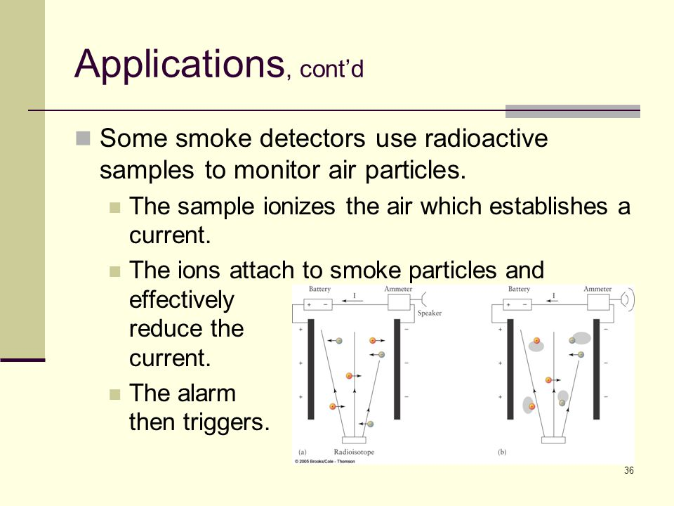 36 Applications, cont'd Some smoke detectors use radioactive samples to monitor air particles.