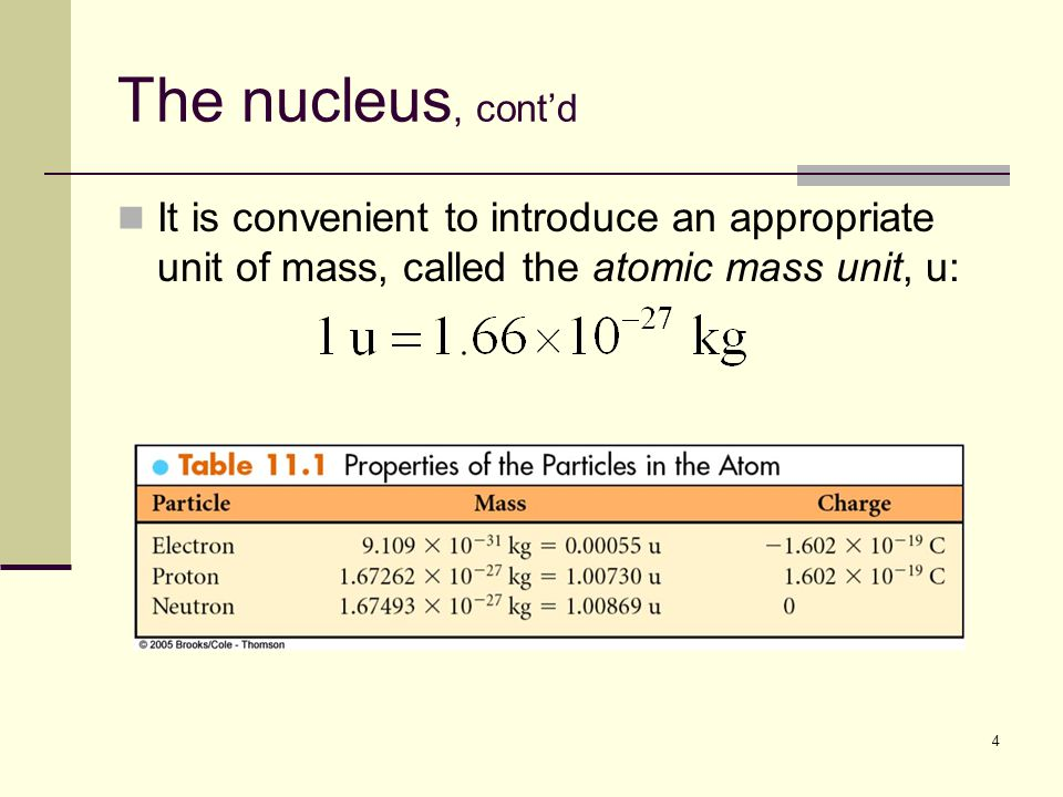4 The nucleus, cont'd It is convenient to introduce an appropriate unit of mass, called the atomic mass unit, u: