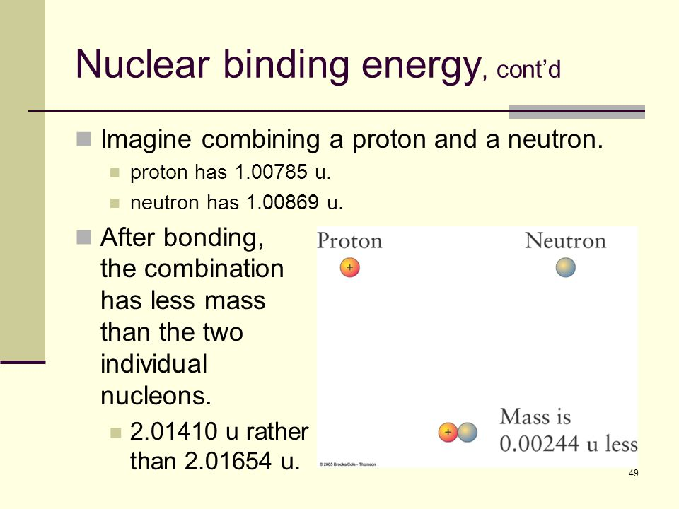 49 Nuclear binding energy, cont'd Imagine combining a proton and a neutron.