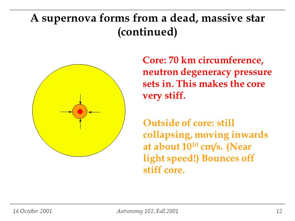 16 October 2001Astronomy 102, Fall 200112 A supernova forms from a dead, massive star (continued) Core: 70 km circumference, neutron degeneracy pressure sets in.