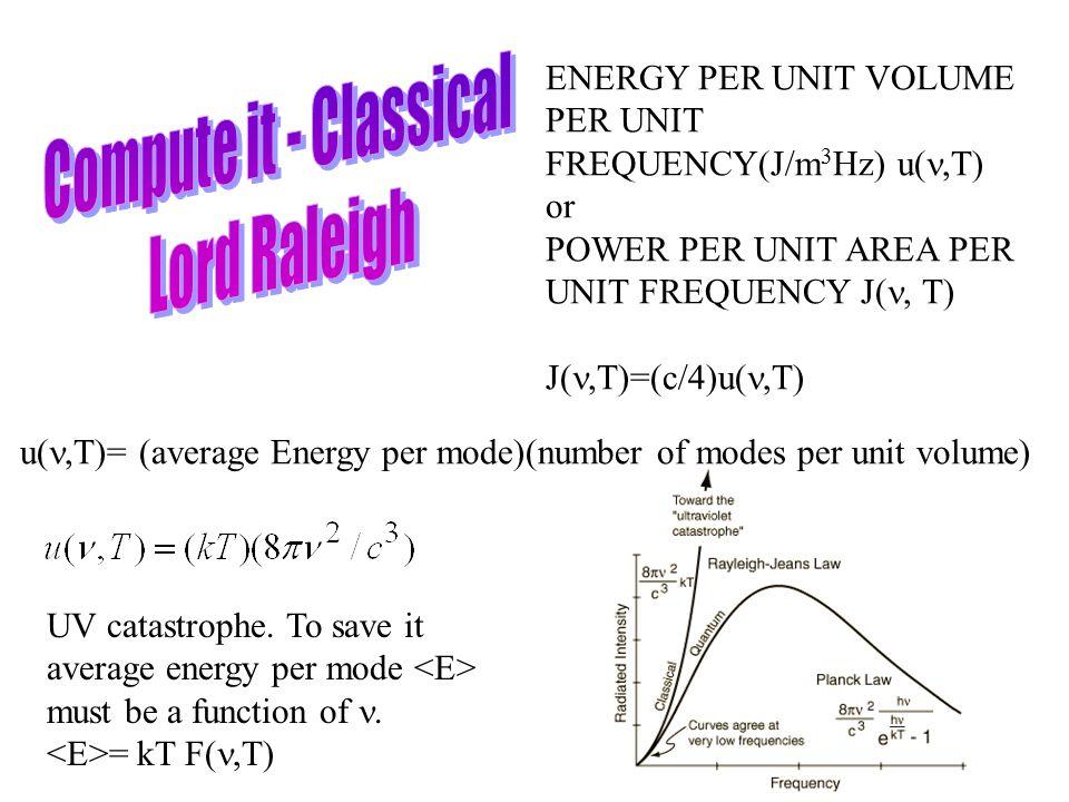 ENERGY PER UNIT VOLUME PER UNIT FREQUENCY(J/m 3 Hz) u  T) or POWER PER UNIT AREA PER UNIT FREQUENCY J  T) J  T)=(c/4)u(,T) u(,T)= (average Energy per mode)(number of modes per unit volume) UV catastrophe.