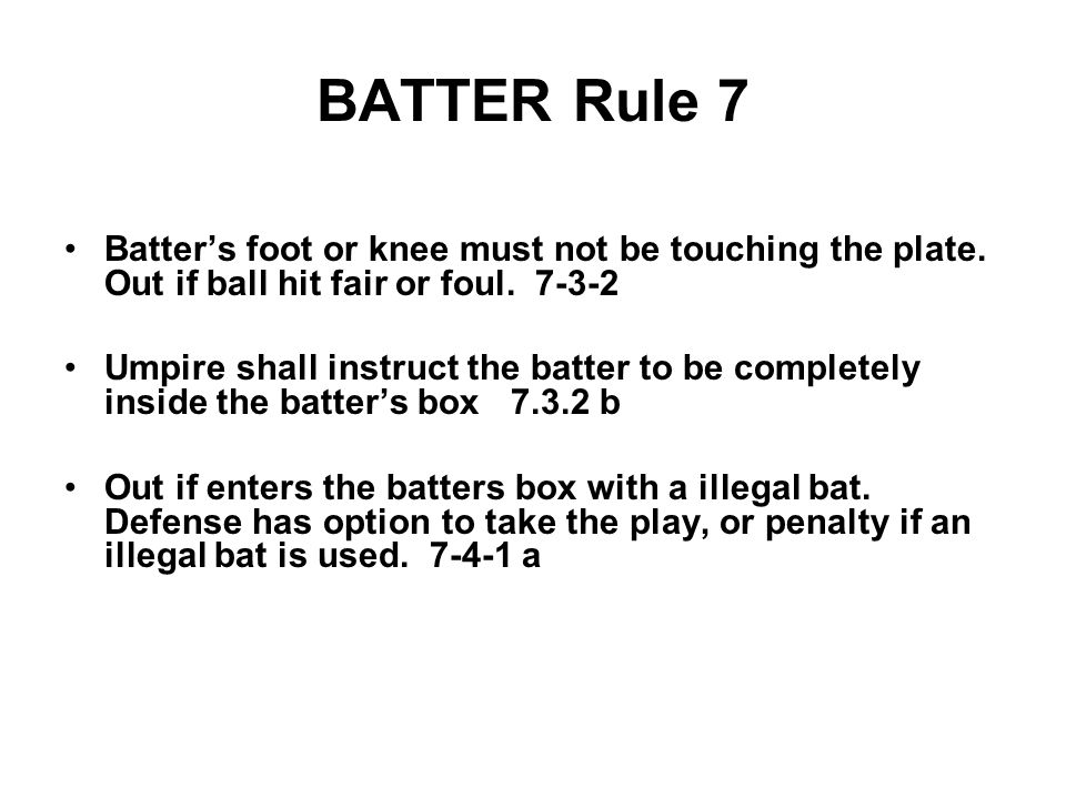 BATTER Rule 7 Batter's foot or knee must not be touching the plate.