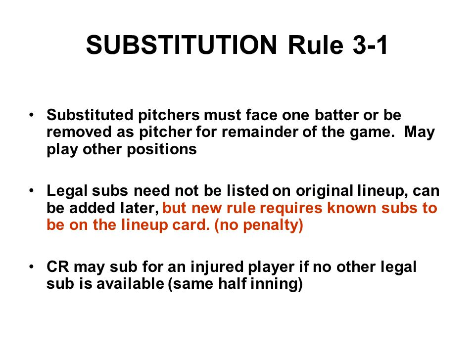 SUBSTITUTION Rule 3-1 Substituted pitchers must face one batter or be removed as pitcher for remainder of the game.