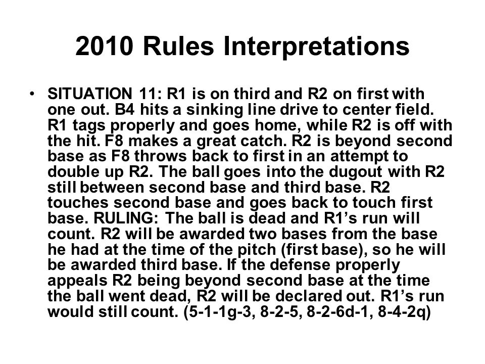 2010 Rules Interpretations SITUATION 11: R1 is on third and R2 on first with one out.