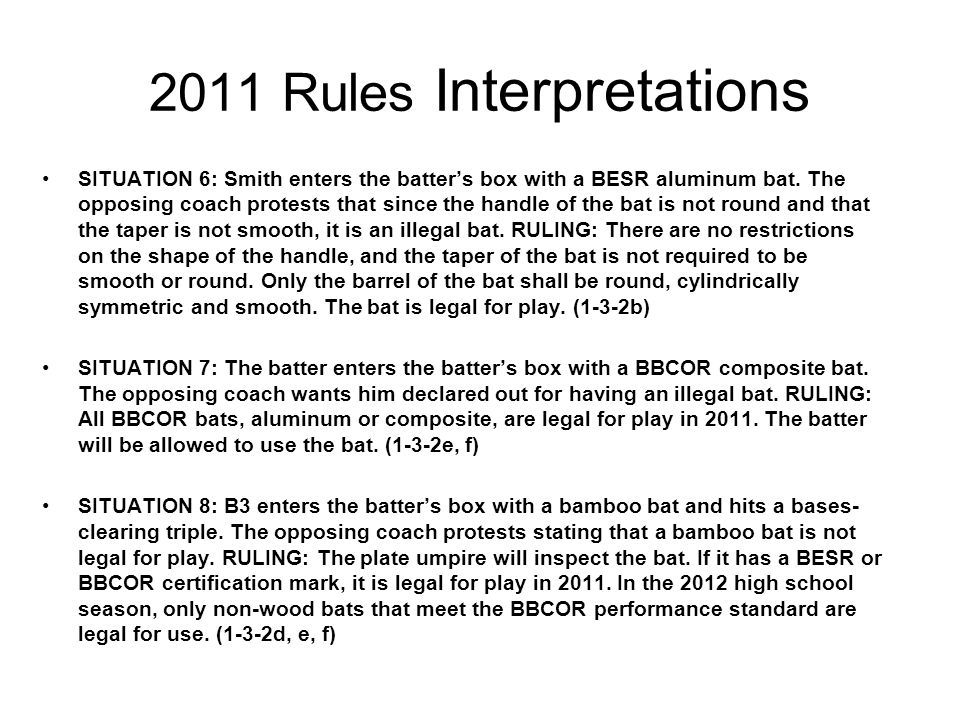 2010 Rules Interpretations SITUATION 20: Two outs, R3 at second base.