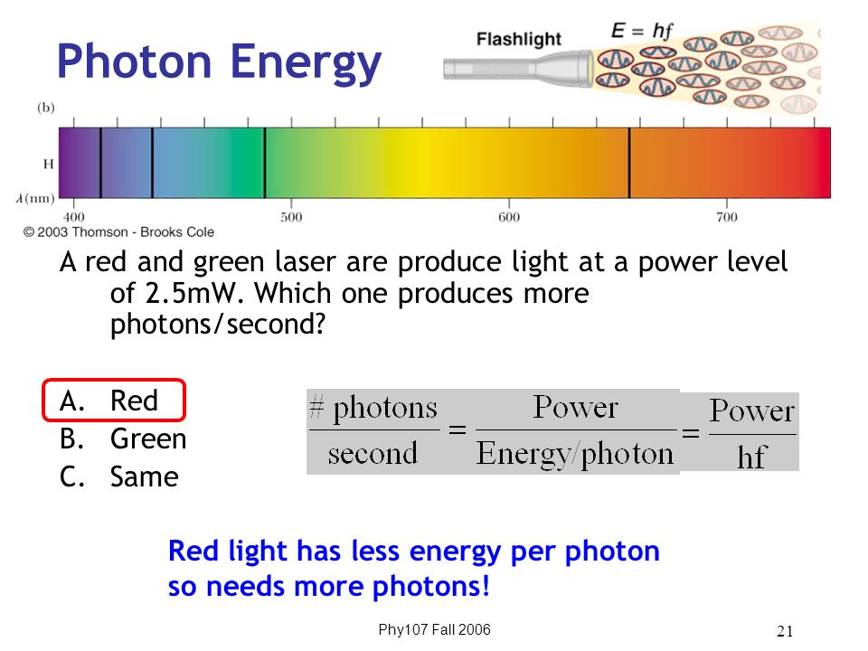 Phy107 Fall 2006 21 Photon Energy A red and green laser are produce light at a power level of 2.5mW.