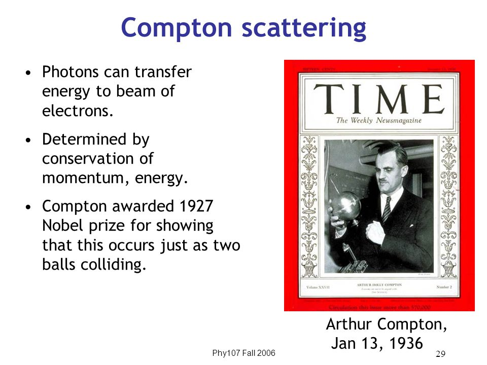 Phy107 Fall 2006 29 Compton scattering Photons can transfer energy to beam of electrons.