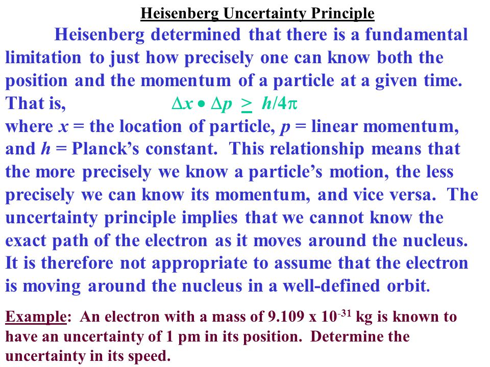 Heisenberg Uncertainty Principle Heisenberg determined that there is a fundamental limitation to just how precisely one can know both the position and