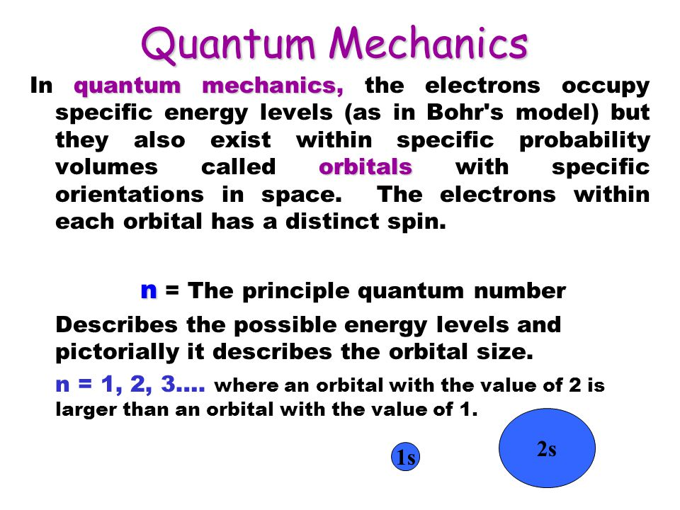 Quantum Mechanics quantum mechanics orbitals In quantum mechanics, the electrons occupy specific energy levels (as in Bohr's model) but they also exis
