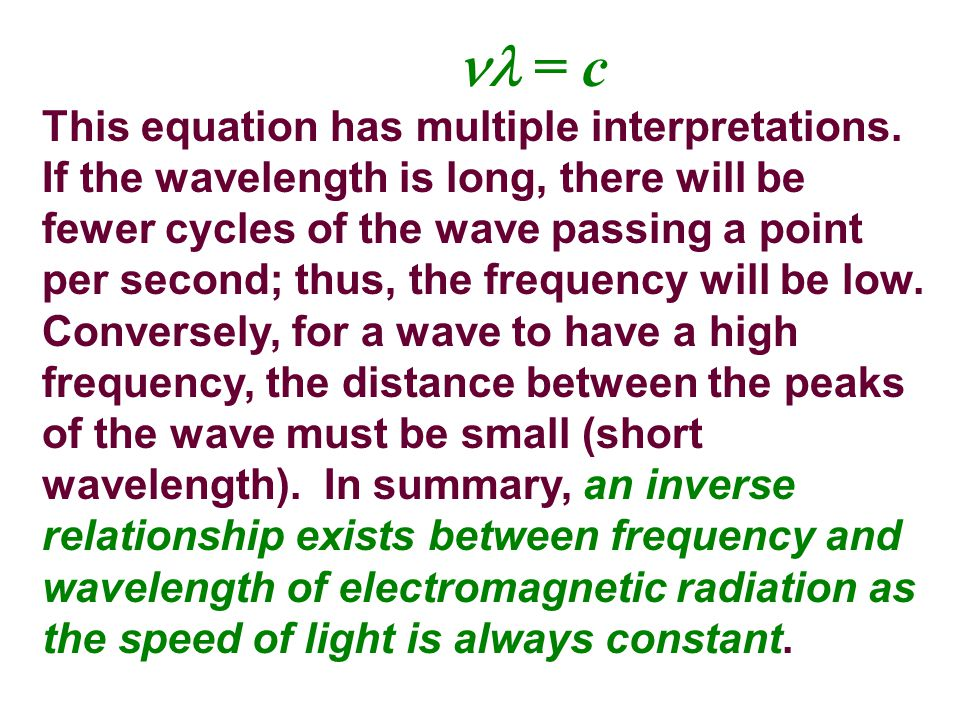 This equation has multiple interpretations. If the wavelength is long, there will be fewer cycles of the wave passing a point per second; thus, the fr