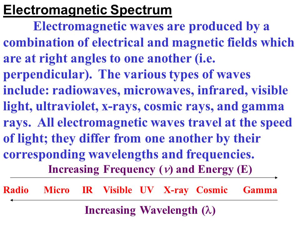 Electromagnetic Spectrum Electromagnetic waves are produced by a combination of electrical and magnetic fields which are at right angles to one anothe