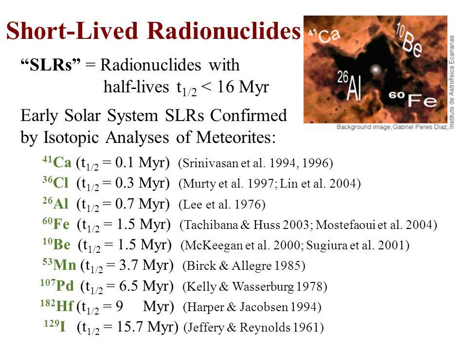 SLRs = Radionuclides with half-lives t 1/2 < 16 Myr 41 Ca (t 1/2 = 0.1 Myr) (Srinivasan et al.
