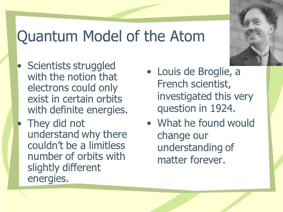 Quantum Model of the Atom Scientists struggled with the notion that electrons could only exist in certain orbits with definite energies.