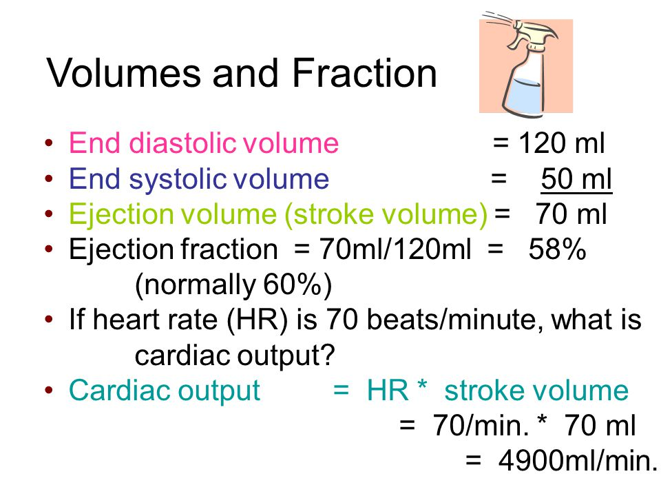 Volumes and Fraction End diastolic volume = 120 ml End systolic volume = 50 ml Ejection volume (stroke volume) = 70 ml Ejection fraction = 70ml/120ml = 58% (normally 60%)‏ If heart rate (HR) is 70 beats/minute, what is cardiac output.