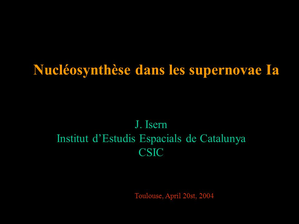 Nucléosynthèse dans les supernovae Ia J.
