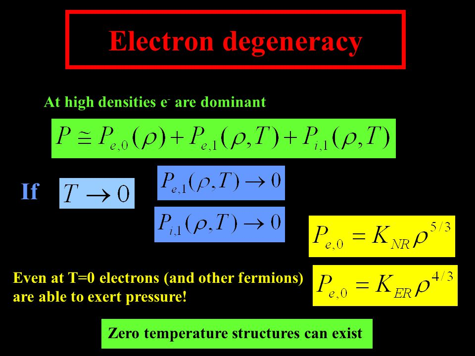 Electron degeneracy At high densities e - are dominant If Even at T=0 electrons (and other fermions) are able to exert pressure.