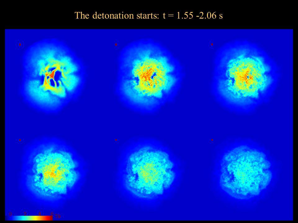 The detonation starts: t = 1.55 -2.06 s