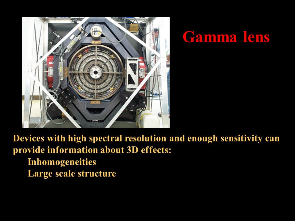 Devices with high spectral resolution and enough sensitivity can provide information about 3D effects: Inhomogeneities Large scale structure Gamma lens