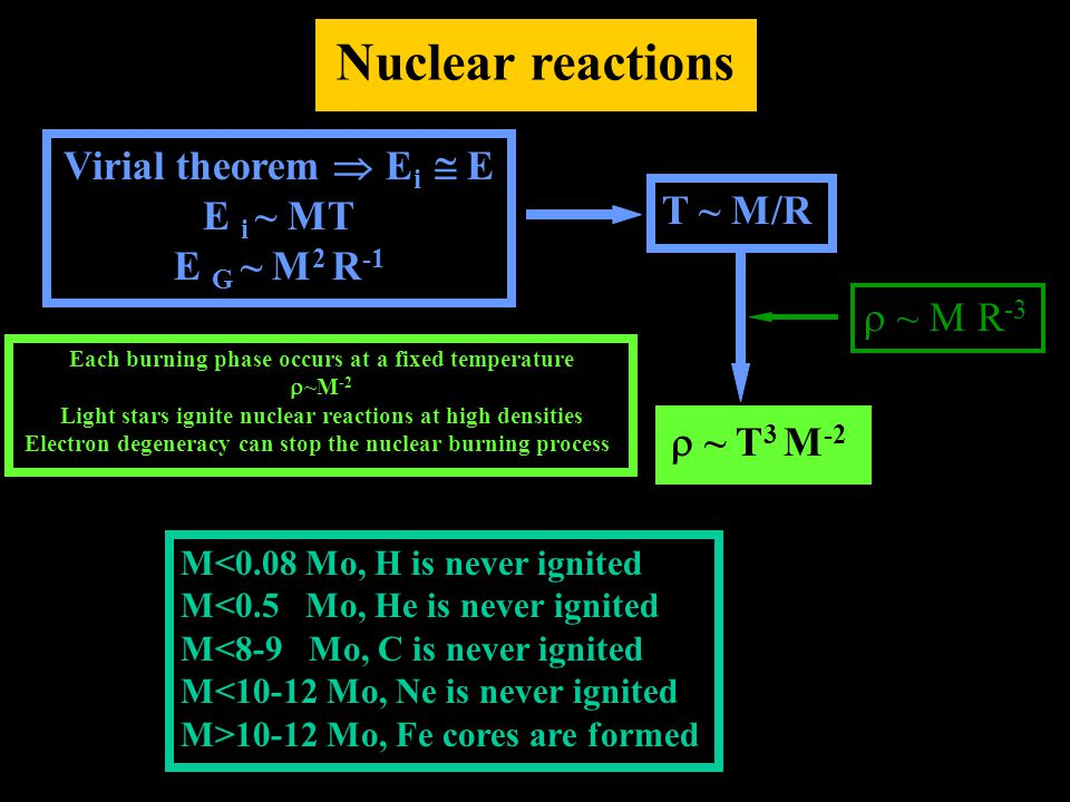 Nuclear reactions Virial theorem  E i  E E i ~ MT E G ~ M 2 R -1 T ~ M/R  ~ T 3 M -2  ~ M R -3 Each burning phase occurs at a fixed temperature  ~M -2 Light stars ignite nuclear reactions at high densities Electron degeneracy can stop the nuclear burning process M<0.08 Mo, H is never ignited M<0.5 Mo, He is never ignited M<8-9 Mo, C is never ignited M<10-12 Mo, Ne is never ignited M>10-12 Mo, Fe cores are formed
