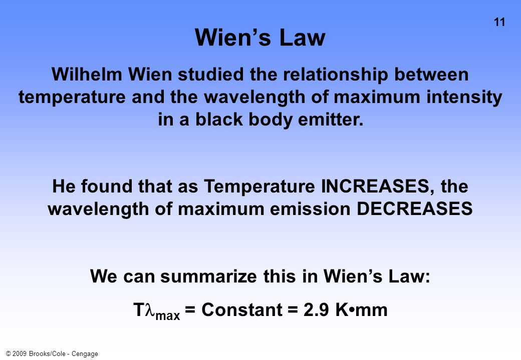 11 © 2009 Brooks/Cole - Cengage Wien's Law Wilhelm Wien studied the relationship between temperature and the wavelength of maximum intensity in a black body emitter.