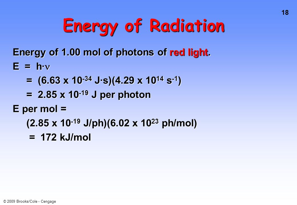 18 © 2009 Brooks/Cole - Cengage Energy of Radiation Energy of 1.00 mol of photons of red light.