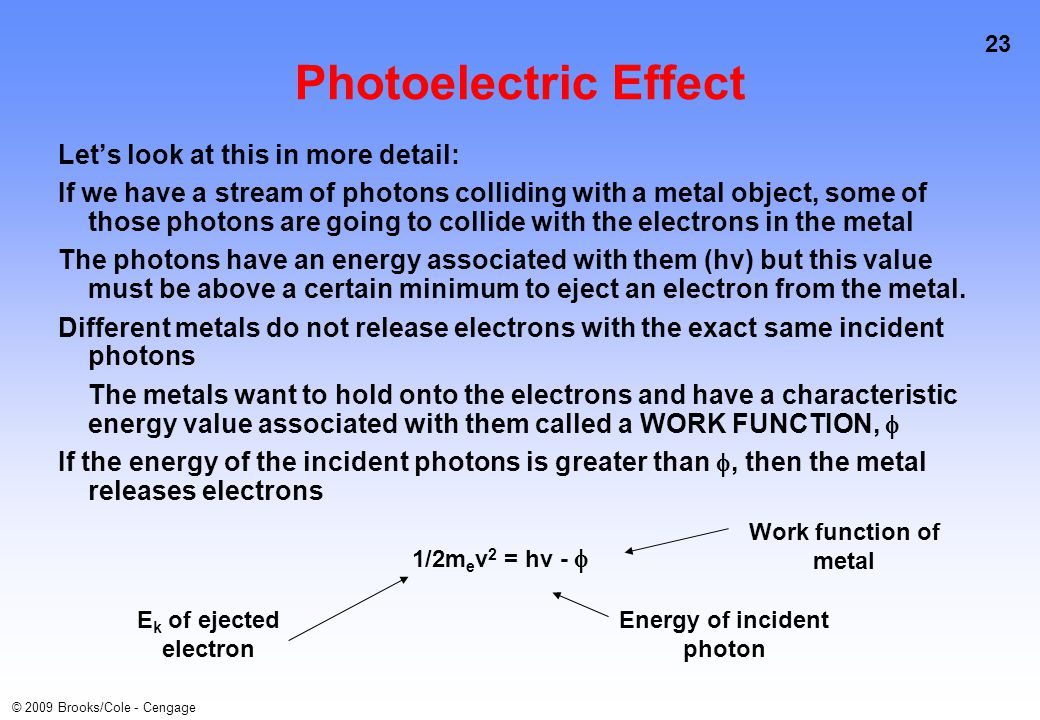 23 © 2009 Brooks/Cole - Cengage Photoelectric Effect Let's look at this in more detail: If we have a stream of photons colliding with a metal object, some of those photons are going to collide with the electrons in the metal The photons have an energy associated with them (hv) but this value must be above a certain minimum to eject an electron from the metal.