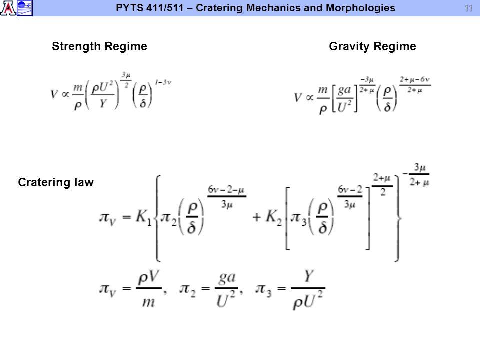 PYTS 411/511 – Cratering Mechanics and Morphologies 11 Strength RegimeGravity Regime Cratering law